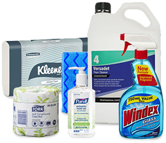 cleaning supplies, cleaning products, sanitiser, toilet paper