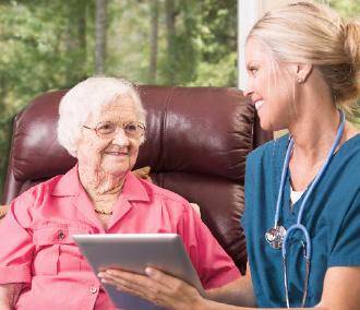 digital tablet, nurse, senior adult, technology, older person