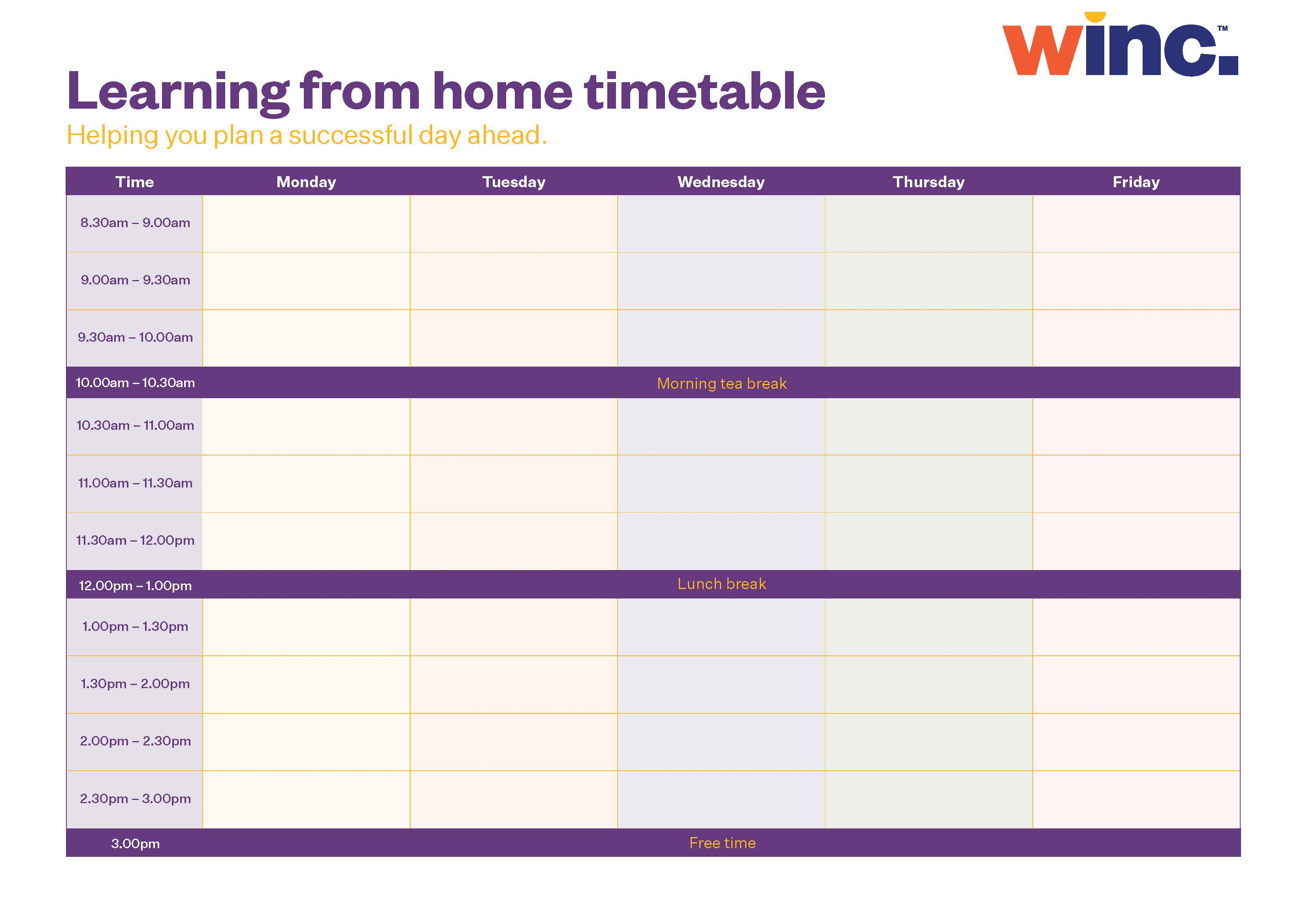 Downloadable learning from home timetable