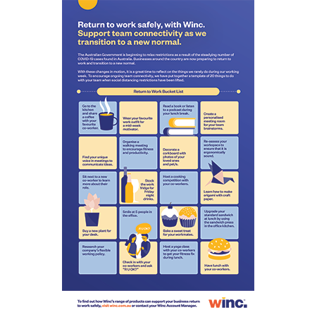 Return to work safely, with Winc. Support team connectivity as we transition to a new normal.