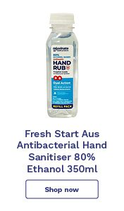 Fresh Start Aus Antibacterial Hand Sanitiser 80% Ethanol 350ml