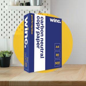 Winc Copy Paper Carbon Neutral 80gsm A4 White Ream 500 Box 5